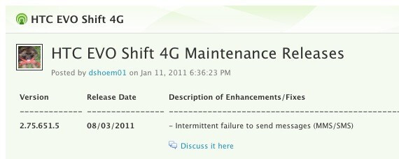 An update to v2.76.651.5 for HTC EVO Shift 4G owners is coming August 8th - HTC EVO Shift 4G getting update to fix MMS/SMS problem