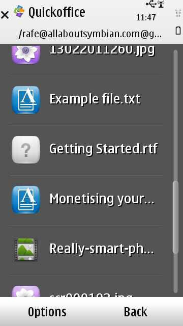 Quickoffice Pro for Symbian^3 now allows syncing files with popular cloud services