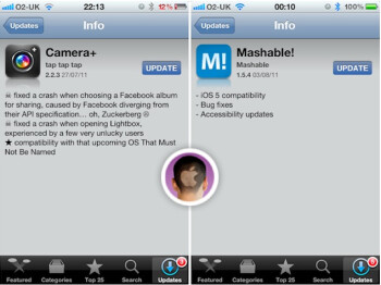 The Mashable! and Camera+ apps have iOS 5 compatibility listed in their features