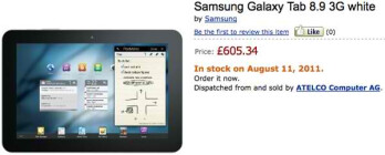 Amazon UK has the Samsung Galaxy Tab 8.9 on pre-order; shipping next week