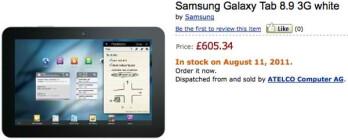 Amazon UK has the Samsung Galaxy Tab 8.9 on pre-order; shipping next week