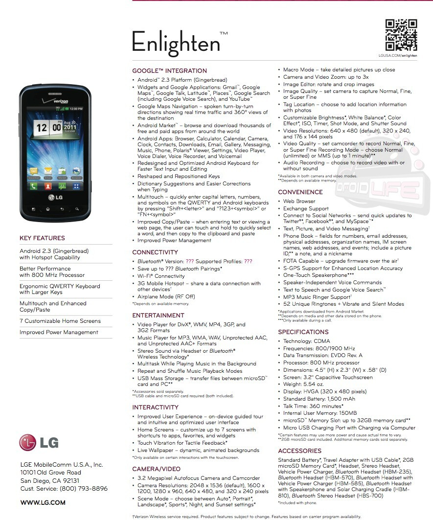 LG Enlighten leaks as an entry level Android for Verizon, with a physical QWERTY keyboard