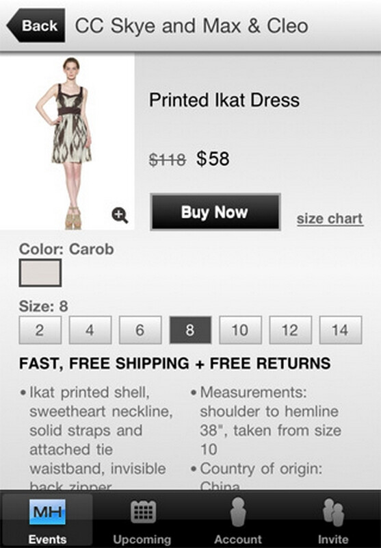 """MYHABIT for iOS app offers """"handpicked selection of designer sales"""" daily at up to 60% off"""
