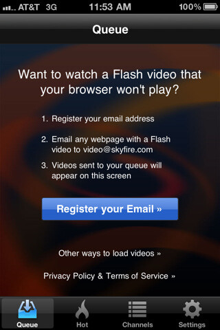 You first need to register to use the app - Skyfire VideoQ Review: Flash for your iOS device