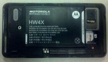 The uncovered back of the Motorola DROID Bionic
