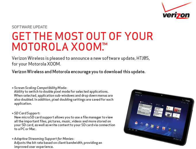 A maintenance update for the Verizon variant of the Motorola XOOM is out now - Motorola XOOM maintenance update out now