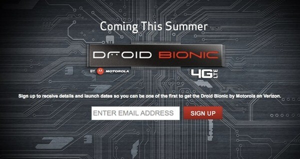 Verizon wants you to register to receive updates on the Motorola DROID Bionic - Verizon's Motorola DROID Bionic teaser site is turned on; register your email to receive timely updates