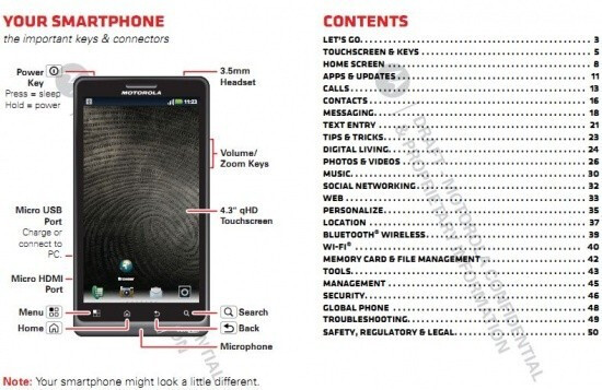 The Motorola DROID Bionic user manual gives away the size of the display - Leaked user manual for the Motorola DROID Bionic confirms 4.3 inch qHD screen