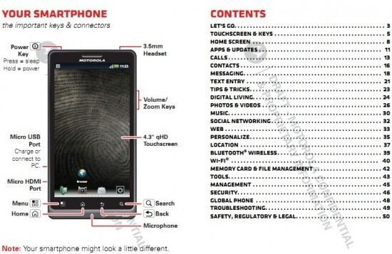 leaked user manual for the motorola droid bionic confirms 4 3 inch rh phonearena com motorola android manual motorola android manual