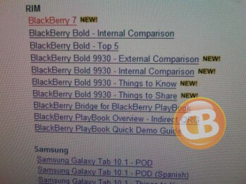 A screen grab from Verizon's internal system shows training materials for the BlackBerry Bold 9930