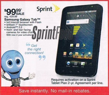 Kmart is offering the Samsung Galaxy Tab for $99.99 with a signed 2-year pact
