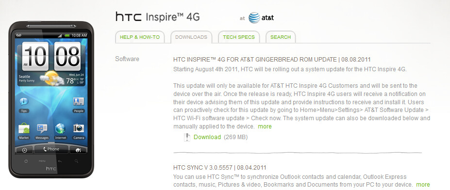 The HTC Inspire is receiving an OTA upgrade to Android 2.3.3 - HTC Inspire 4G users grabbing some Gingerbread goodness via OTA update