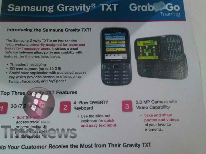 Samsung Gravity TXT brings its feature phone presence to T-Mobile come August 24th
