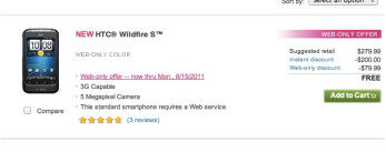 T-Mobile is selling the HTC Wildfire S online only for free until August 15th