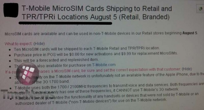 MicroSIM cards are once again beginning to arrive at T-Mobile stores