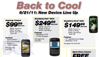 Sprint flier shows the Bold 9930 & Torch 9850 priced at $250 & $150 respectively