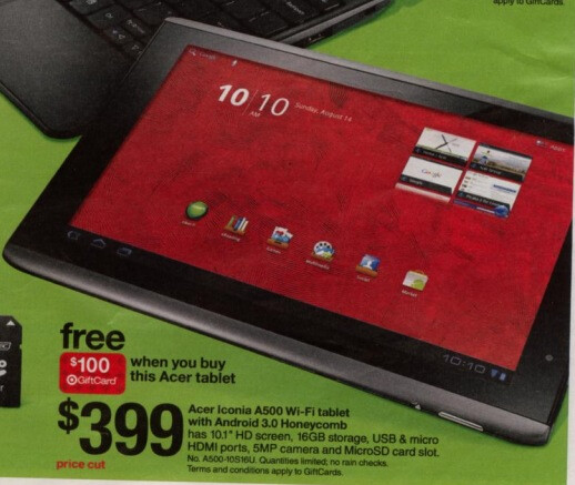 Target puts the Acer ICONIA TAB A500 up for $299 this weekend, well, kind of