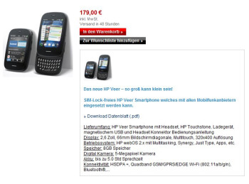 HP Germany cuts the price of the unlocked HP Veer to an enticing €179