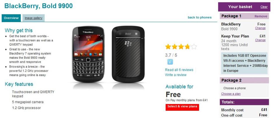 Vodafone UK starts selling the BlackBerry Bold 9900 starting today