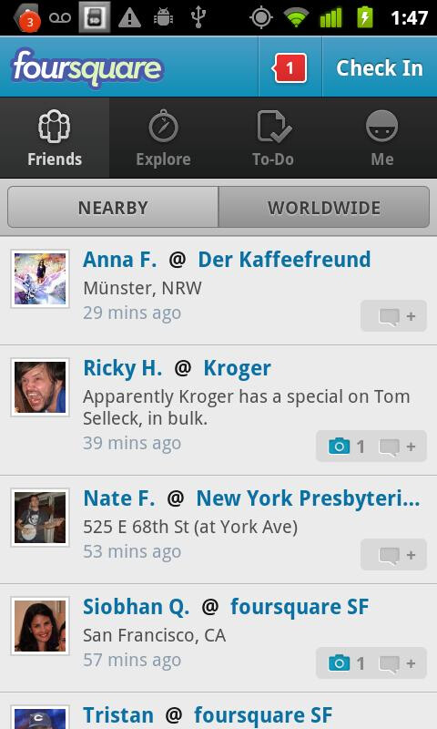Android Foursquare app boasts a new refreshed interface with its latest update