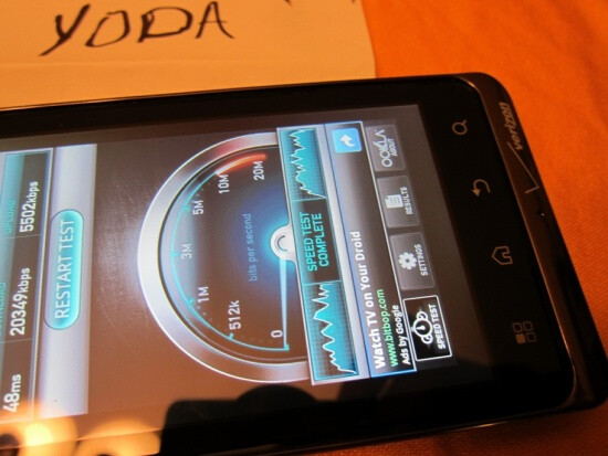 Some nice 4G speeds rung up by the one and only Motorola DROID Bionic - Motorola DROID Bionic said by tester to have improved battery life