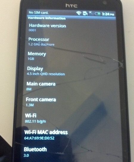 A real live model of the HTC Holiday was purchased on Craig's List - HTC Holiday purchased from Craig's List with 4.5 inch qHD display and Android 2.3.4 aboard