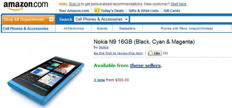 The Nokia N9 is available for pre-order from Amazon with a September 23rd shipping date - Amazon offering unlocked Nokia N9 to be shipped September 23rd