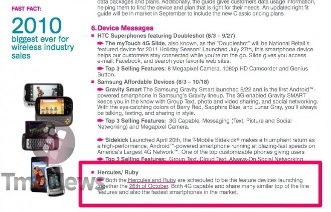 According to a leaked T-Mobile training document, both the HTC Ruby and the Samsung Hercules will launch on October 26th - October 26th launch date leaks for the HTC Ruby and Samsung Hercules