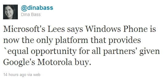 """Microsoft has been circling Motorola too, now claims Windows Phone is the only """"equal opportunity"""" platform"""