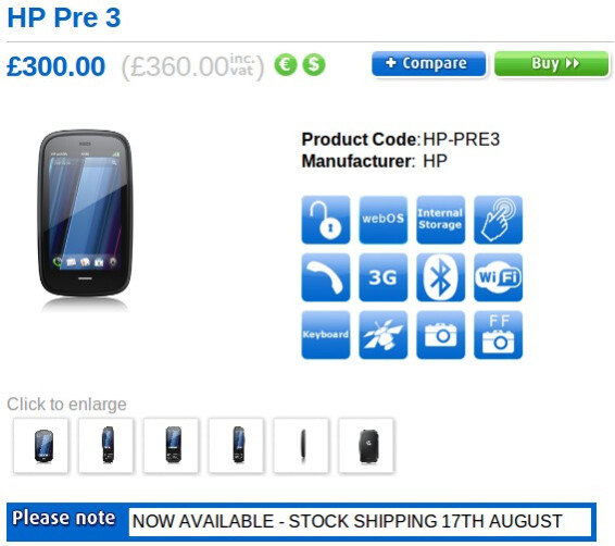 Unlocked HP Pre 3 is set to go on sale in the UK starting tomorrow for £360
