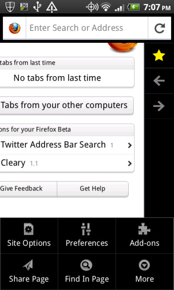 The new UI for the Firefox for Android mobile browser