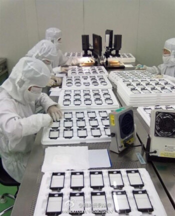 Alleged snapshot of the next iPhone's display production line features a revamped home key