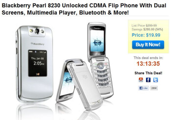 Unlocked Blackberry Pearl Flip 8230 is selling for a mere $19.99 outright