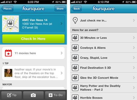 iPhone users gain the ability to check-in to events with Foursquare