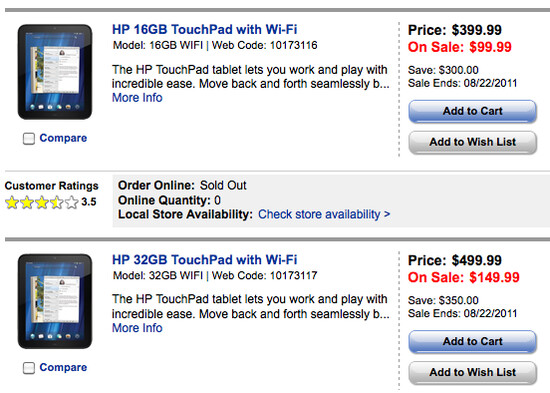HP has drastically cut the price of both the 16GB and 32GB HP TouchPad - HP TouchPad reduced to as low as $99.99 starting tomorrow