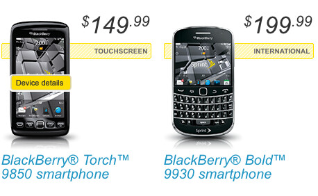 Between AT&T (L) and Sprint (R), all three new BlackBerry models are being launched today - Sprint launches BlackBerry Torch 9850 and Bold 9930 while AT&T releases BlackBerry Torch 9810