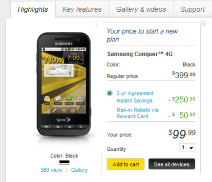 The Samsung Conquer 4G is now available at Sprint - Sprint gives you a WiMax Android phone for $100 on contract as the Samsung Conquer 4G launches today