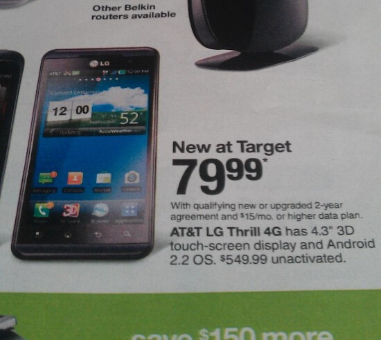 The LG Thrill 4G appears in a Target circular priced at $79.99 with a 2-year contract - Target circular shows LG Thrill 4G with $79.99 price tag