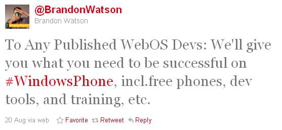 Microsoft giving away WP7 handsets, training for free to woo webOS developers