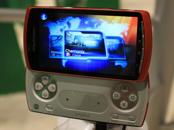 Sony Ericsson Xperia Arc seen in white, Xperia Play seen in orange