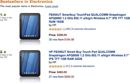 HP TouchPad launches straight to the number one spot on Amazon's bestselling list