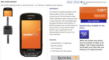 MetroPCS slaps a $129 price tag on the Samsung Admire - available online and in stores today