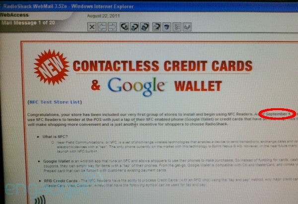 RadioShack might have leaked the Google Waller launch date - Google Wallet might roll out on September 1st