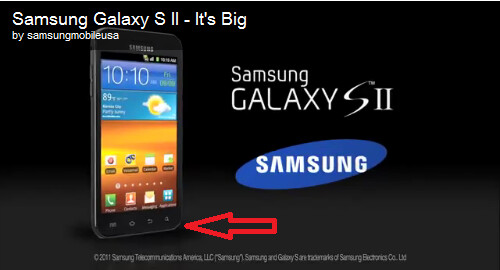 The Samsung Galaxy S II on left shows an Apple iPhone-style home button while the model at right doesn't - U.S. version of Samsung Galaxy S II replaces iPhone-like home button with Android one