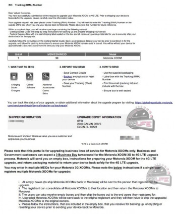 This instructional letter outlines details about the LTE upgrade to the Motorola XOOM