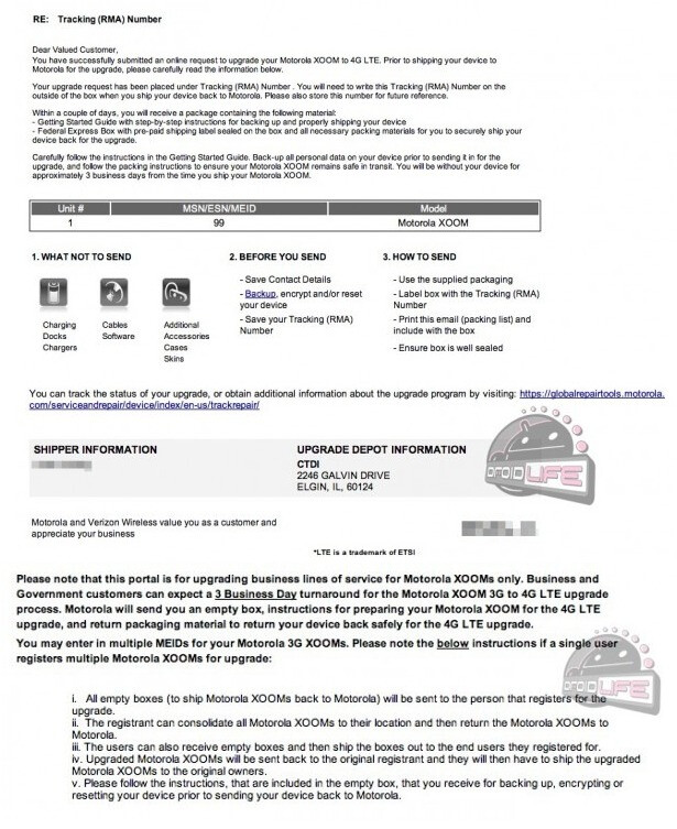 This instructional letter outlines details about the LTE upgrade to the Motorola XOOM - Government and business users might be the first to get the LTE upgrade to the Motorola XOOM