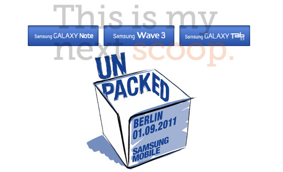 Samsung Galaxy Tab 7.7, Galaxy Note, and Wave 3 are revealed thanks to Samsung's Unpacked app