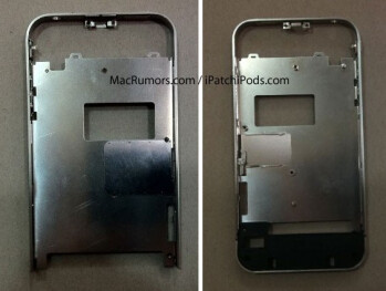 The Apple iPhone 4 casing (L) shows the gaps  leading to Antennagate, while the casing allegedly for the Apple iPhone  4S (R) is made of unibody construction