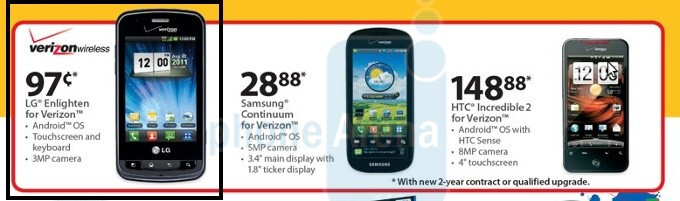 Verizon's LG Enlighten appears on Wal-Mart's product catalog, yours for a dollar