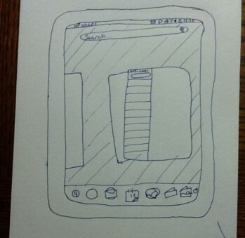 This drawing of an HP TouchPad is currently for sale on eBay